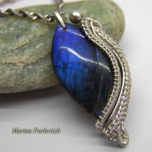 Кулон серебро с синим камнем лабрадором