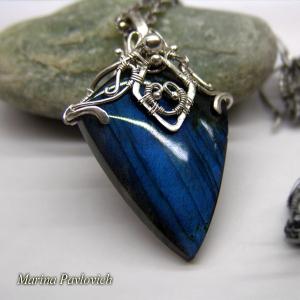 Кулон из серебра с натуральным камнем лабрадором